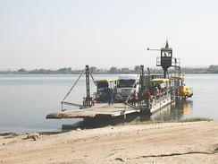 A pontoon ferry crossing the Zambezi at Kazungula