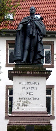 "Statue of William IV in Göttingen, Germany. The Latin inscription reads: ""William the Fourth, King, Father of the Fatherland""."