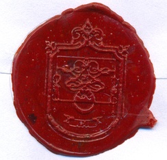 Sealing wax in a letter, Fonseca Padilla Family Coat of Arms, Jalisco, México.