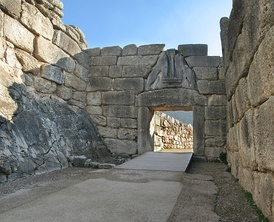 The Lion Gate, built in circa 1250 BC, an iconic Mycenaean building