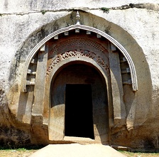 The Mauryan carved door of Lomas Rishi, one of the Barabar Caves, c. 250 BCE.