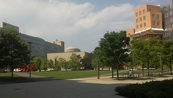 MIT main campus seen from Vassar Street, as The Great Dome is visible in the distance and the Stata Center is at right