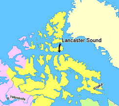 Lancaster Sound at the north end of Baffin Island. Parry Channel runs directly west.