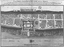 Mobile and the pentagonal Fort Condé in 1725