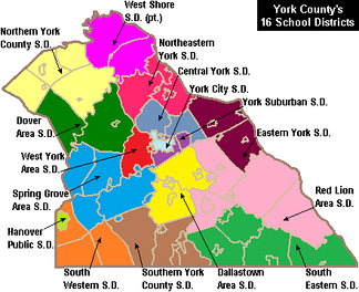 Map of York County, Pennsylvania School Districts