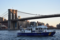 A NYPD police boat patrolling the East River