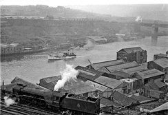 Panorama from Newcastle castle keep across the River Tyne to Gateshead in 1954