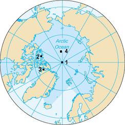 1— Северный полюс. 2— Северный магнитный полюс. 3— Северный геомагнитный полюс. 4— Северный полюс недоступности