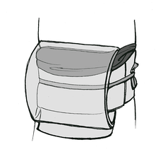 The structure of the common taiko musubi (drum bow). The obijime is shown in mid-shade grey, the obiage in dark grey. The obimakura is hidden by the obiage.