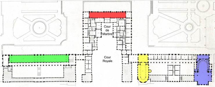 Plan of the main floor (c. 1837, with north to the right), showing the Hall of Mirrors in red, the Hall of Battles in green, the Royal Chapel in yellow, and the Royal Opera in blue