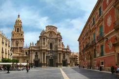 Murcia Cathedral of Santa Maria completed in 1465, with facade and tower from 18th century