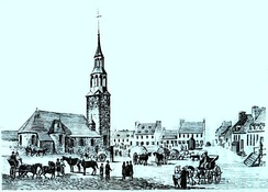 Depiction of the first church in Fort Ville-Marie in the 1640s. The settlement was established in 1642 under the authority of Société Notre-Dame de Montréal.