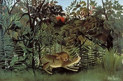 Henri Rousseau painting, The Hungry Lion Throws Itself on the Antelope from 1905