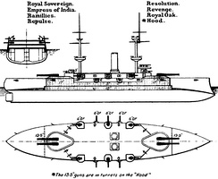 Right elevation and deck plan as depicted in Brassey's Naval Annual 1905.