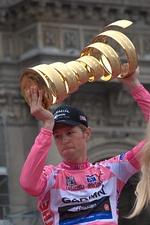 The leader in the Giro d'Italia cycle race wears a pink jersey (maglia rosa)