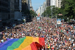 The 18th edition of the São Paulo Gay Pride Parade in 2014.