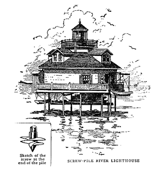 Screw-pile lighthouse from Sea Stories, publ. 1910 by Century Co. N.Y.