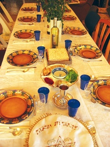 Table set for Passover seder