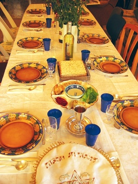 Table set for the Passover Seder