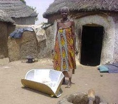 Solar cookers use sunlight as energy source for outdoor cooking.