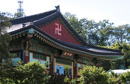 Swastika on a temple in Korea (left), in Taiwan (right)
