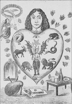 An allegorical image depicting the human heart subject to the seven deadly sins, each represented by an animal (clockwise: toad = avarice; snake = envy; lion = wrath; snail = sloth; pig = gluttony; goat = lust; peacock = pride).