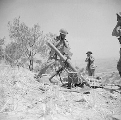 4.2-inch mortar of the 1st Battalion, Princess Louise's Kensington Regiment, British 78th Infantry Division, in action near Adrano, 6 August 1943.