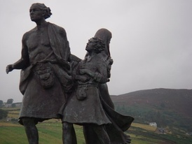 The Emigrants Statue commemorates the flight of Highlanders during the Highland Clearances, but is also a testament to their accomplishments in the places they settled. Located in the Sutherland village of Helmsdale, Scotland.
