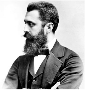 Theodor Herzl was the founder of the Modern Zionist movement. In his 1896 pamphlet Der Judenstaat, he envisioned the founding of a future independent Jewish state during the 20th century.