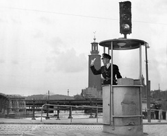 A traffic light in Stockholm in 1953.
