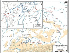 The strategic situation from 7 to 9 October. With Kutuzov too far away to offer significant aid, the Austrians found themselves in a precarious position.