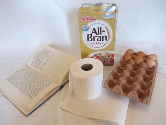 Paper products: book, toilet paper, Ruled paper, carton, egg box