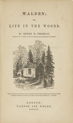 Title page of Henry Thoreau's memoir, Walden (1854)