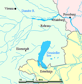 Map showing locations where Haydn lived or visited