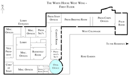 Location of the Oval Office in the West Wing.