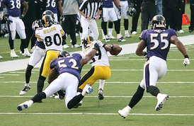 Suggs (55) and Ray Lewis playing against the Pittsburgh Steelers in 2006.