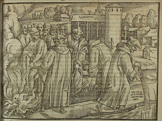 Burning Wycliffe's bones, from Foxe's Book of Martyrs (1563)
