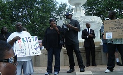 Local resident and activist Brenda Cherry speaking at the rally for Brandon McClelland, 2009