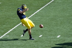 Zoltán Meskó punting for the 2008 Michigan Wolverines football team.