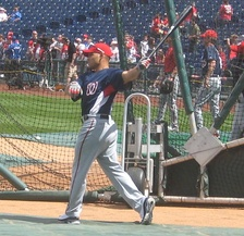 Rodríguez during batting practice while with the Nationals.