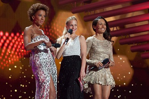 The presenters of the 2015 contest (from left) Arabella Kiesbauer, Mirjam Weichselbraun and Alice Tumler.