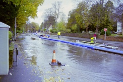 The underground Wellesbourne can rise to the surface during heavy rain, as in November 2000 when it flooded the London Road in Preston village.