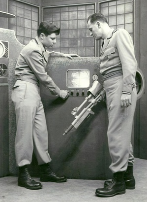 A scene from the early American science fiction television program Captain Video which aired from 1949 to 1955