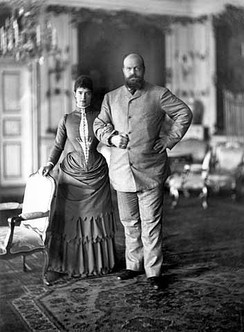 Alexander and his wife Empress Maria Fyodorovna on holiday in Copenhagen in 1893