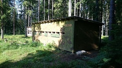 Bear watching hut in Alutaguse, Estonia. There are around 700 bears in Estonia and they are especially numerous in the Alutaguse forests.