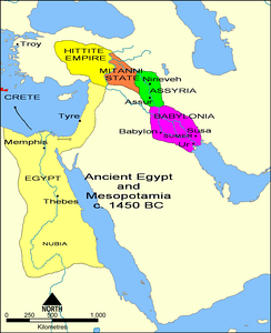Overview map in the 15th century BC showing the core territory of Assyria with its two major cities Assur and Nineveh wedged between Babylonia downstream and the states of Mitanni and Hatti upstream.