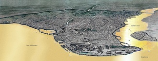 Aerial view of Byzantine Constantinople and the Propontis (Sea of Marmara).