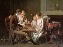 "Painting of a family game of checkers (""jeu de dames"") by French artist Louis-Léopold Boilly, c. 1803."