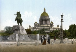 The 1782 statue of Peter I in Saint Petersburg, informally known as the Bronze Horseman