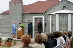 Barbara Bush, Laura Bush, George H. W. Bush at the dedication of the George W. Bush Childhood Home in 2006